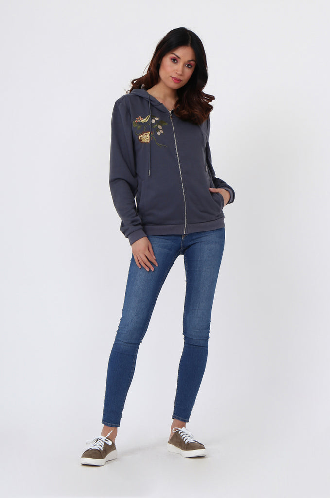 SMK1040-GREY FLORAL EMBROIDED HOODED SWEATSHIRT view 4