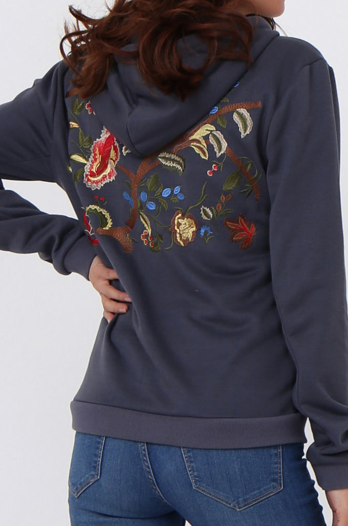 SMK1040-GREY FLORAL EMBROIDED HOODED SWEATSHIRT view 5