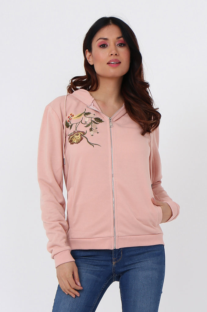 SMK1040-PINK FLORAL EMBROIDED HOODED SWEATSHIRT