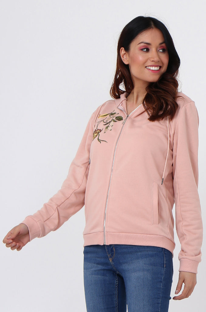 SMK1040-PINK FLORAL EMBROIDED HOODED SWEATSHIRT view 2