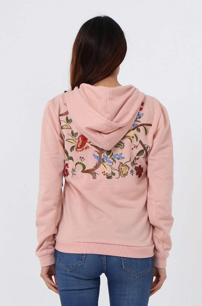 SMK1040-PINK FLORAL EMBROIDED HOODED SWEATSHIRT view 3