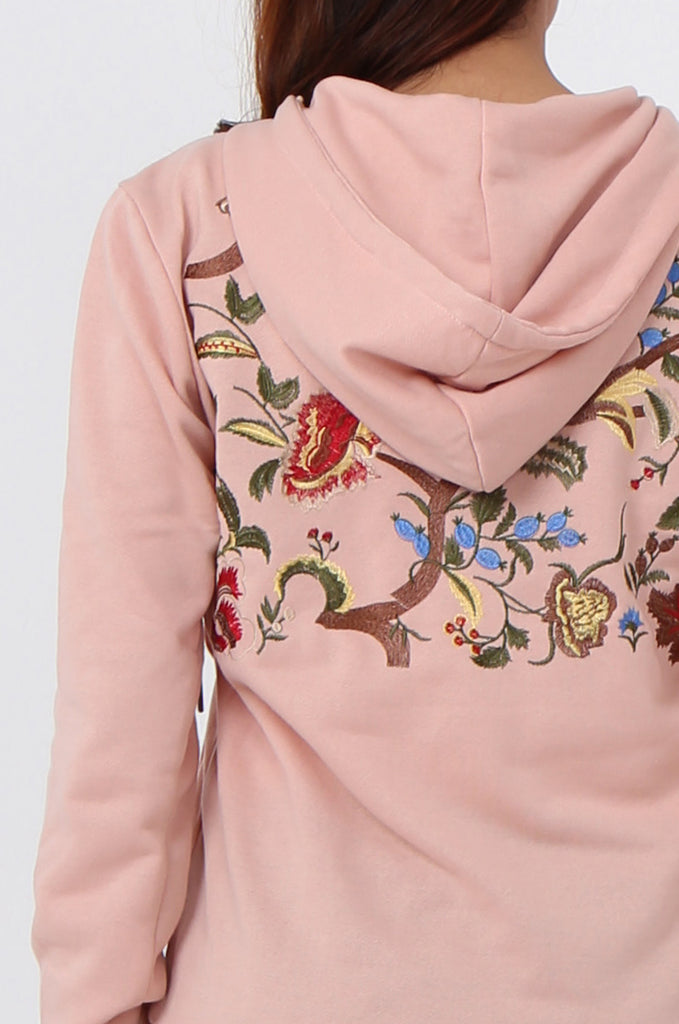 SMK1040-PINK FLORAL EMBROIDED HOODED SWEATSHIRT view 5