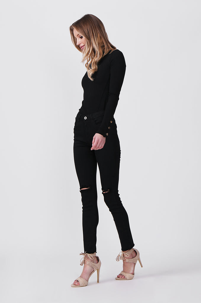 SML0428-BLACK COLOURED RIP KNEE STRETCH JEAN view 2