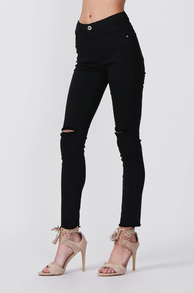 SML0428-BLACK COLOURED RIP KNEE STRETCH JEAN view 5