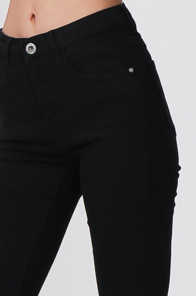 SML0428-BLACK COLOURED RIP KNEE STRETCH JEAN view 6