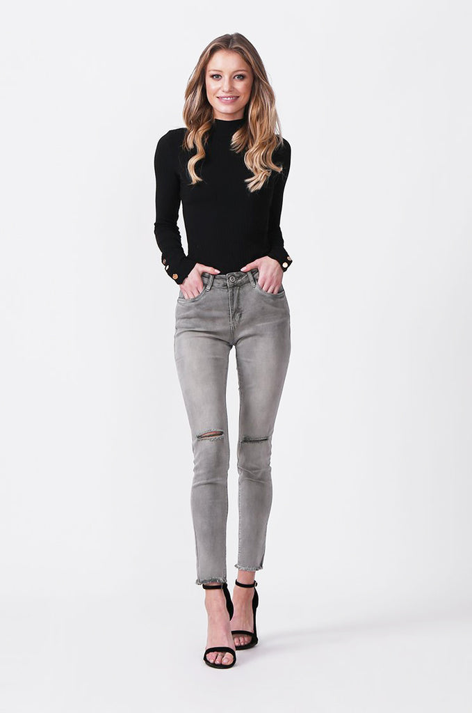 SML0428-GREY/GREEN COLOURED RIP KNEE STRETCH JEANS