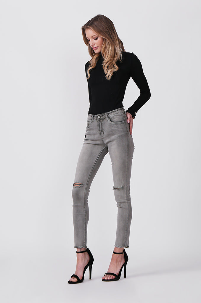 SML0428-GREY/GREEN COLOURED RIP KNEE STRETCH JEANS view 2