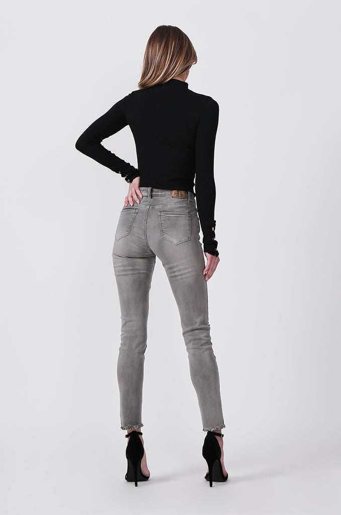 SML0428-GREY/GREEN COLOURED RIP KNEE STRETCH JEANS view 3