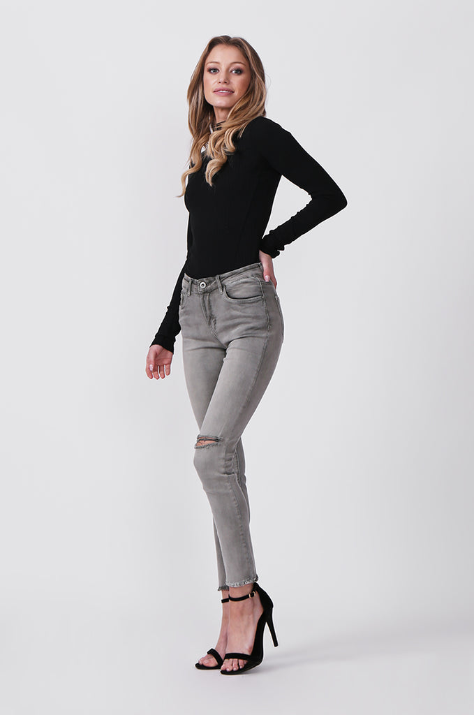 SML0428-GREY/GREEN COLOURED RIP KNEE STRETCH JEANS view 4