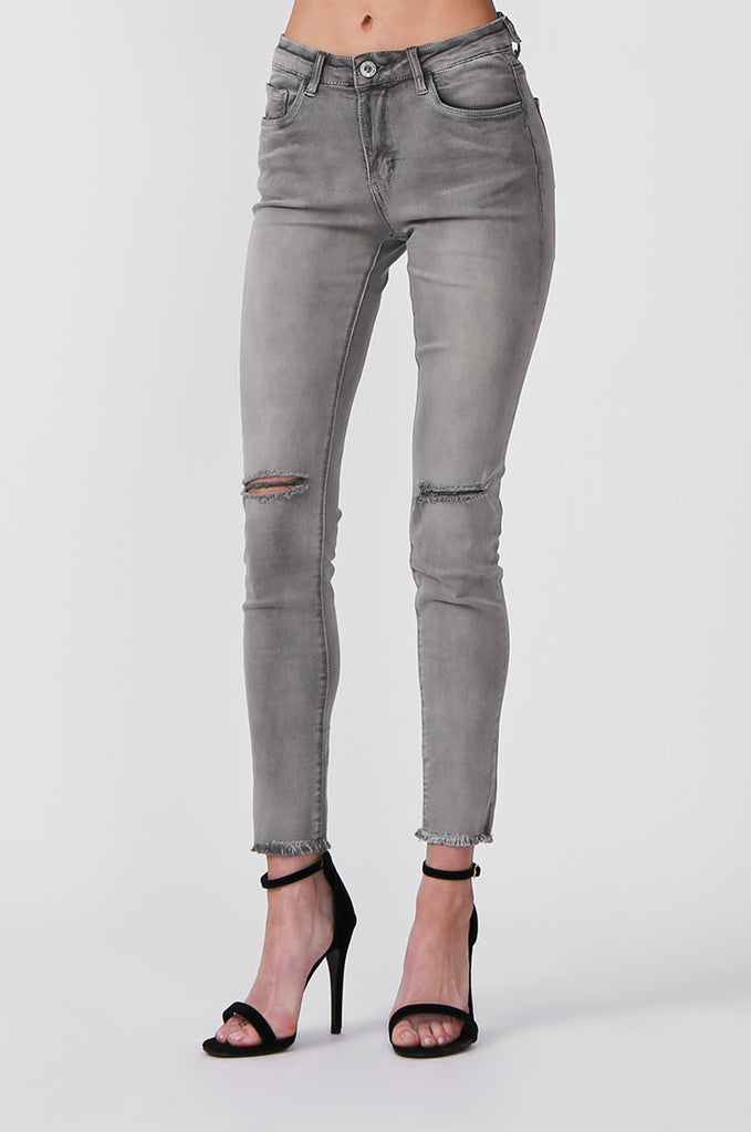 SML0428-GREY/GREEN COLOURED RIP KNEE STRETCH JEANS view 5