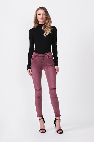COLOURED RIP KNEE STRETCH JEAN