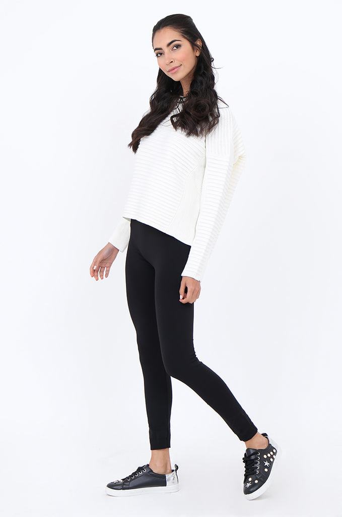 SMT1841-BLACK BASIC WIDE WAISTBAND FLEECE LINED LEGGINGS