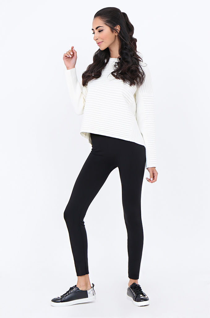SMT1841-BLACK BASIC WIDE WAISTBAND FLEECE LINED LEGGINGS view 2