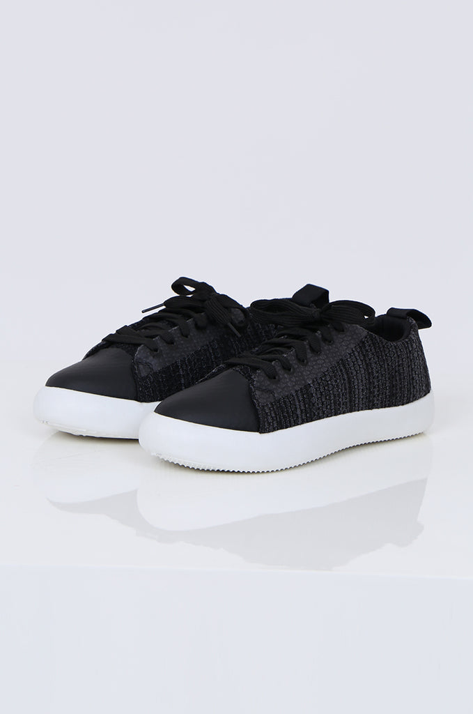 SMY1612-BLACK MESH LACE UP TRAINER