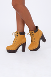 SMY1613-CAMEL SUEDETTE HIGH HEEL TIMBER BOOT