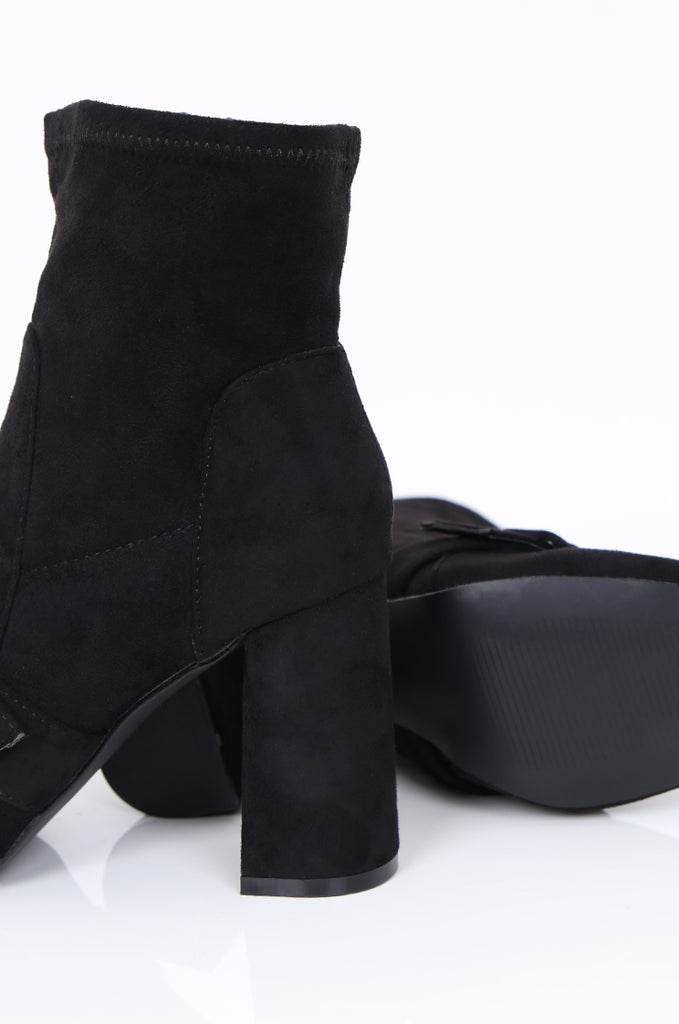 SMY1616-BLACK BUCKLE & STRAP SUEDETTE ANKLE BOOT view 4