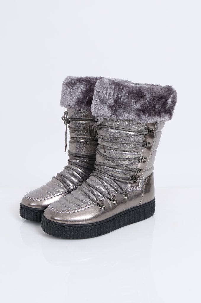 SMY2172-SILVER LACE UP FAUX FUR & METALLIC MOON BOOTS