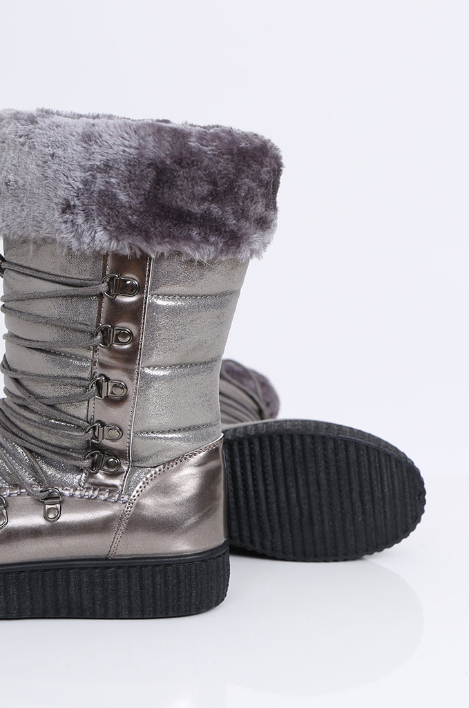 SMY2172-SILVER LACE UP FAUX FUR & METALLIC MOON BOOTS view 4