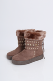SMY2175-BROWN PEARL STUDDED FAUX FUR MOON BOOTS