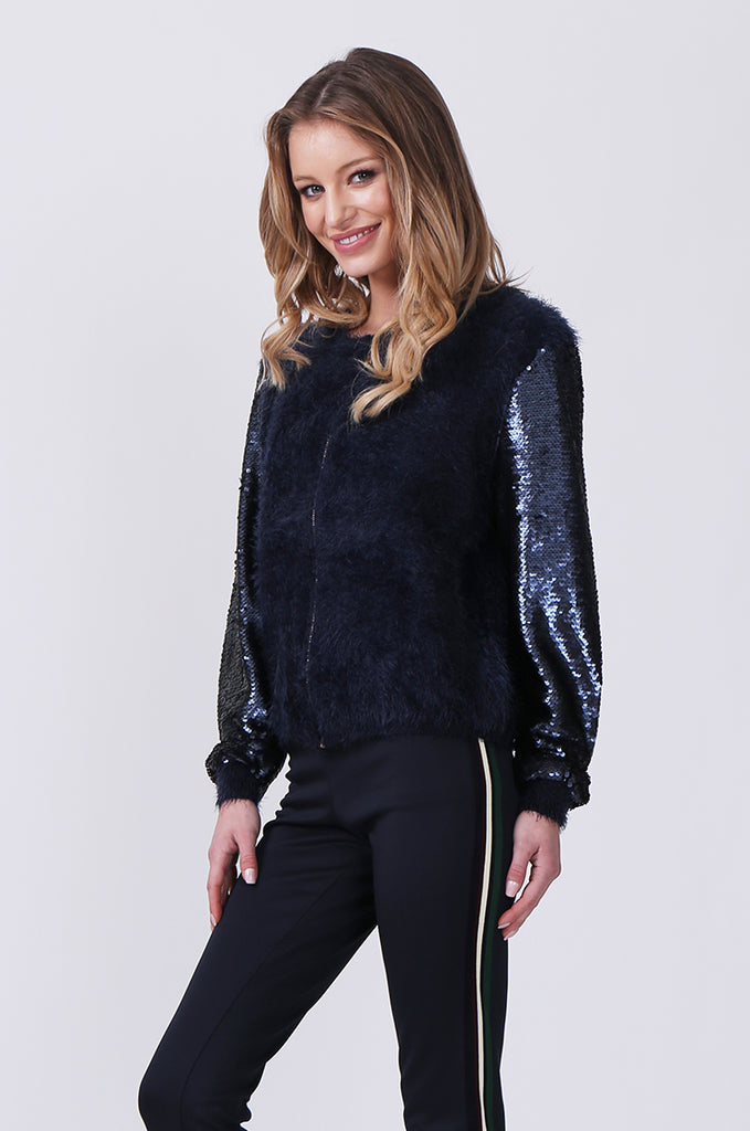 SN0376-NAVY SEQUIN SLEEVE FLUFFY KNIT BOMBER JACKET view 2