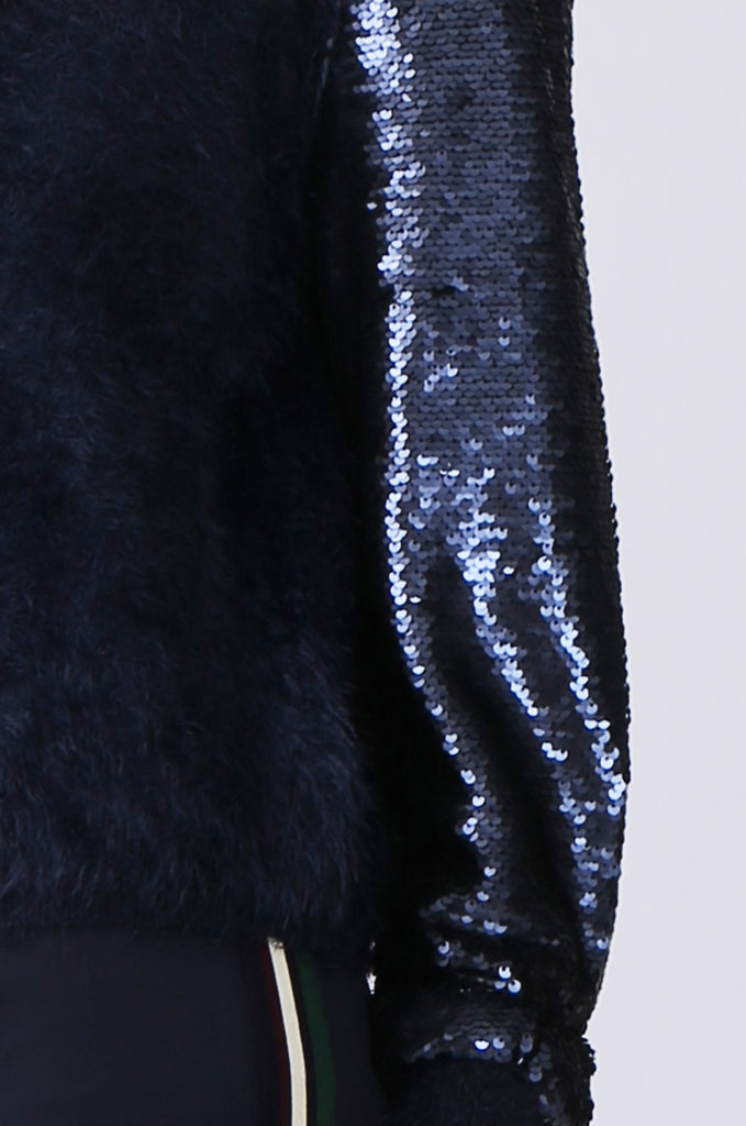 SN0376-NAVY SEQUIN SLEEVE FLUFFY KNIT BOMBER JACKET view 5