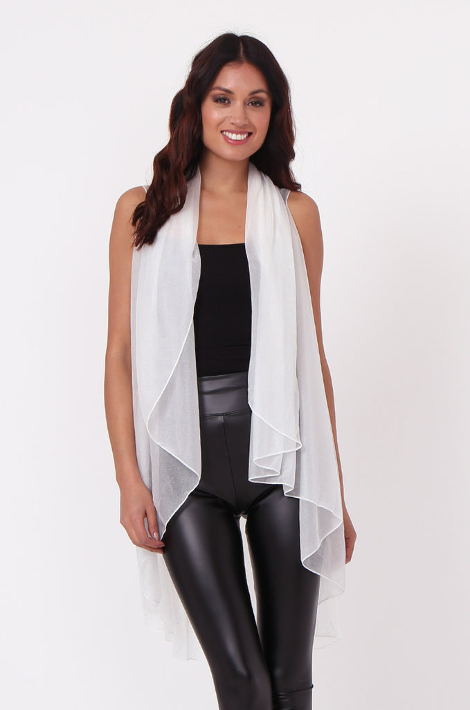 SN0382-WHITE METALLIC WATERFALL LONG VEST