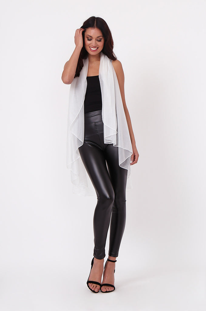 SN0382-WHITE METALLIC WATERFALL LONG VEST view 4