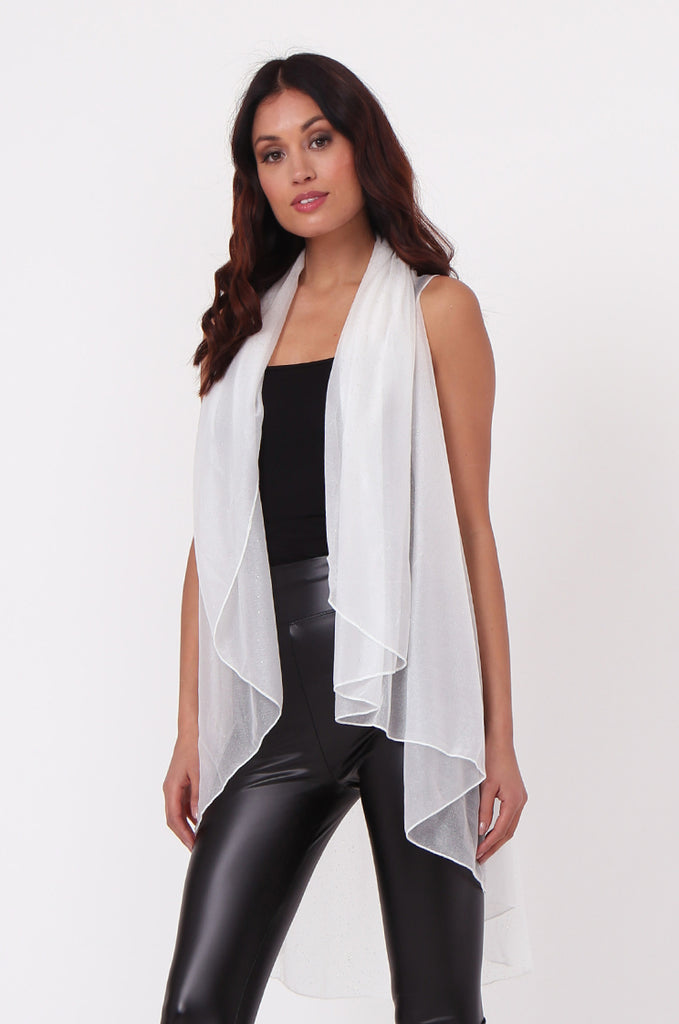 SN0382-WHITE METALLIC WATERFALL LONG VEST view 2