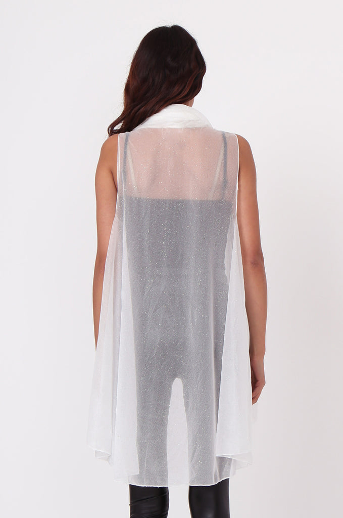 SN0382-WHITE METALLIC WATERFALL LONG VEST view 3