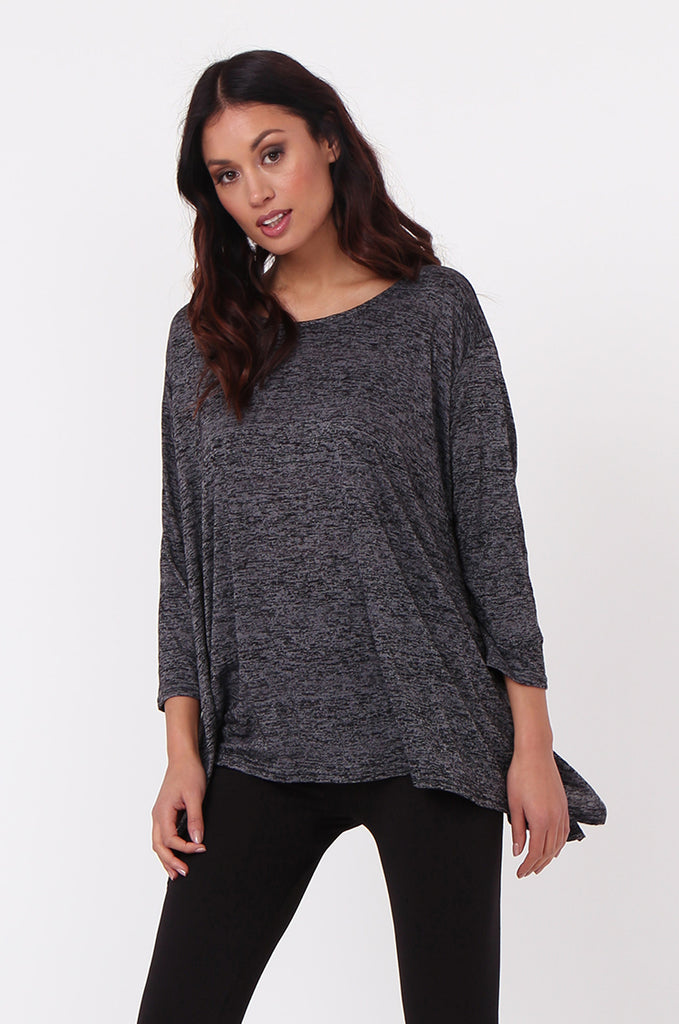 SN0384-BLACK MARLE JERSEY TUNIC TOP view 2