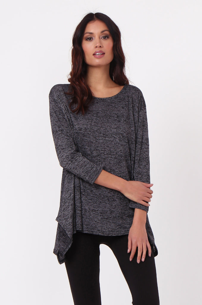 SN0384-BLACK MARLE JERSEY TUNIC TOP view main view