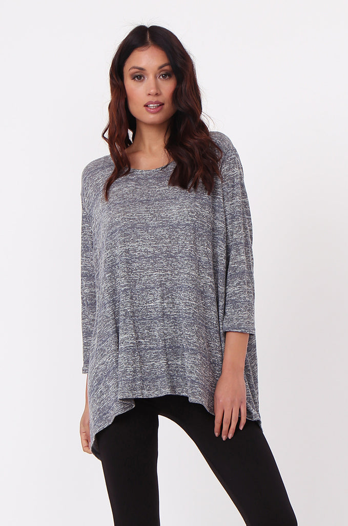 SN0384-GREY MARLE JERSEY TUNIC TOP