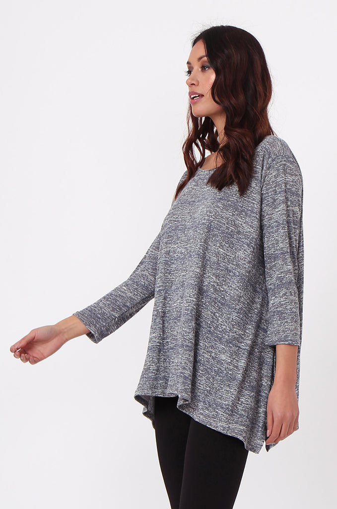 SN0384-GREY MARLE JERSEY TUNIC TOP view 2