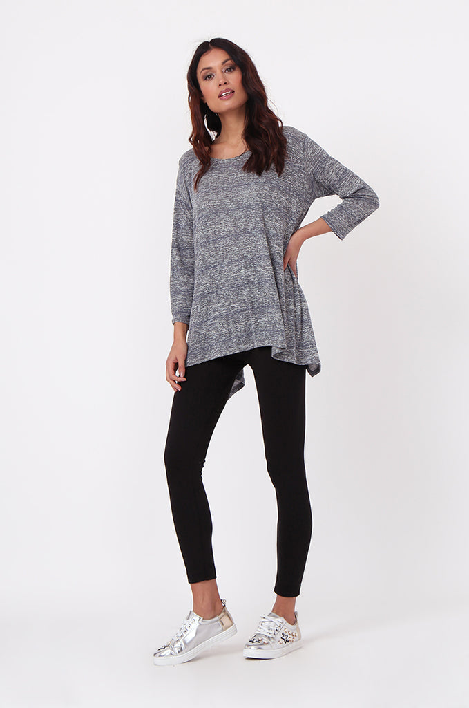 SN0384-GREY MARLE JERSEY TUNIC TOP view 4