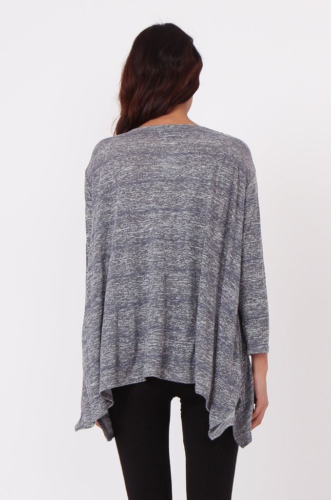 SN0384-GREY MARLE JERSEY TUNIC TOP view 3