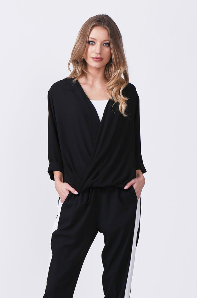 SN0385-BLACK WRAP FRONT SHIRT