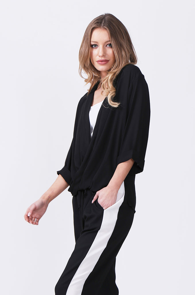 SN0385-BLACK WRAP FRONT SHIRT view 2