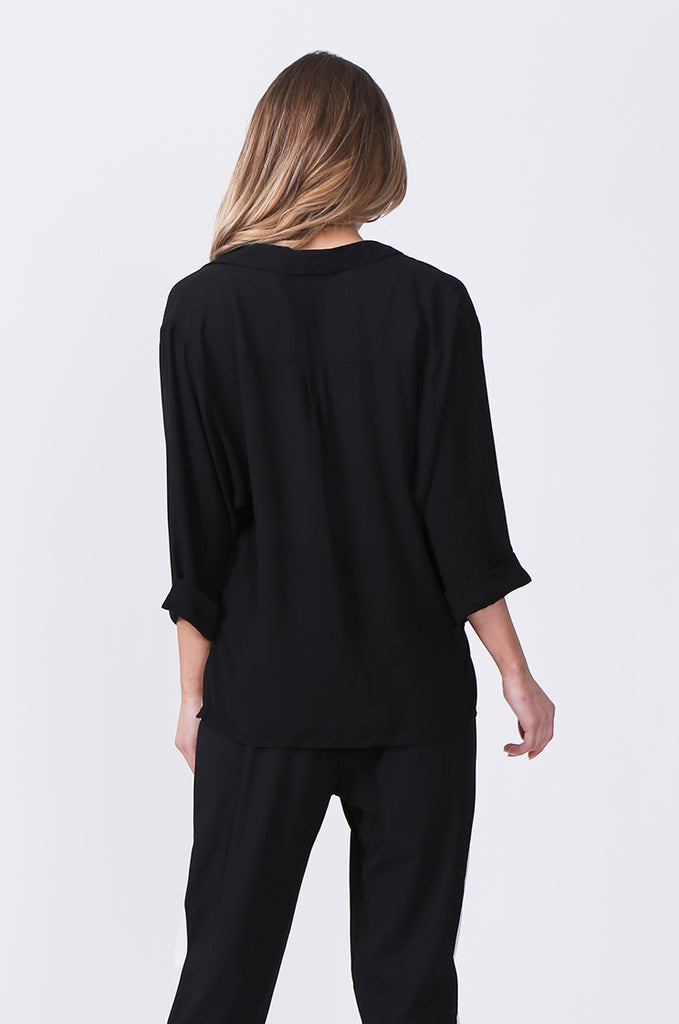 SN0385-BLACK WRAP FRONT SHIRT view 3