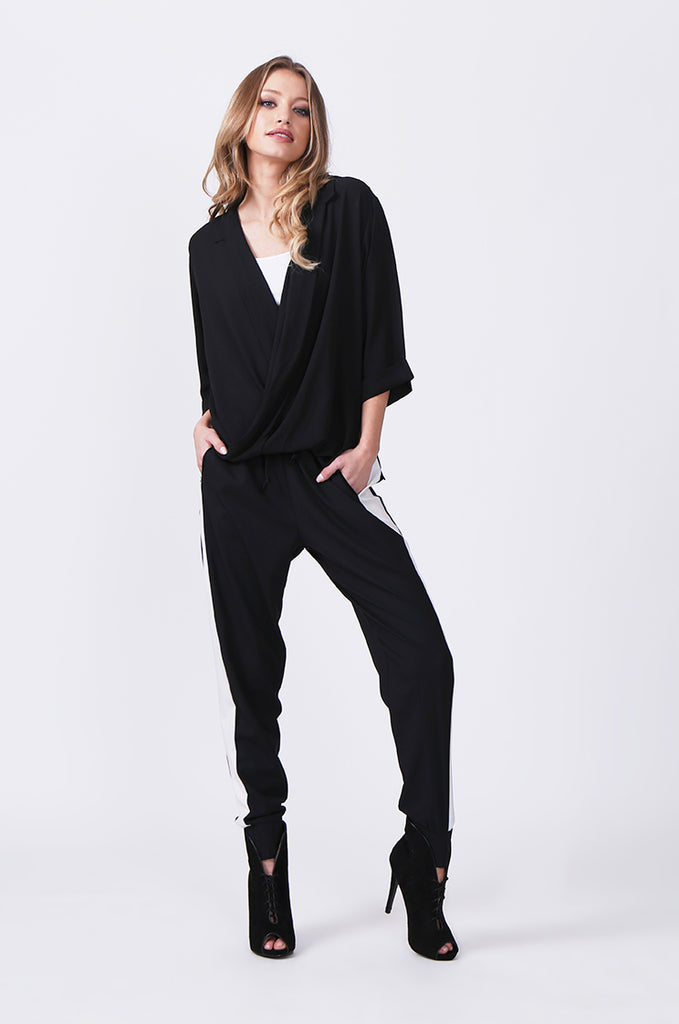 SN0385-BLACK WRAP FRONT SHIRT view 4