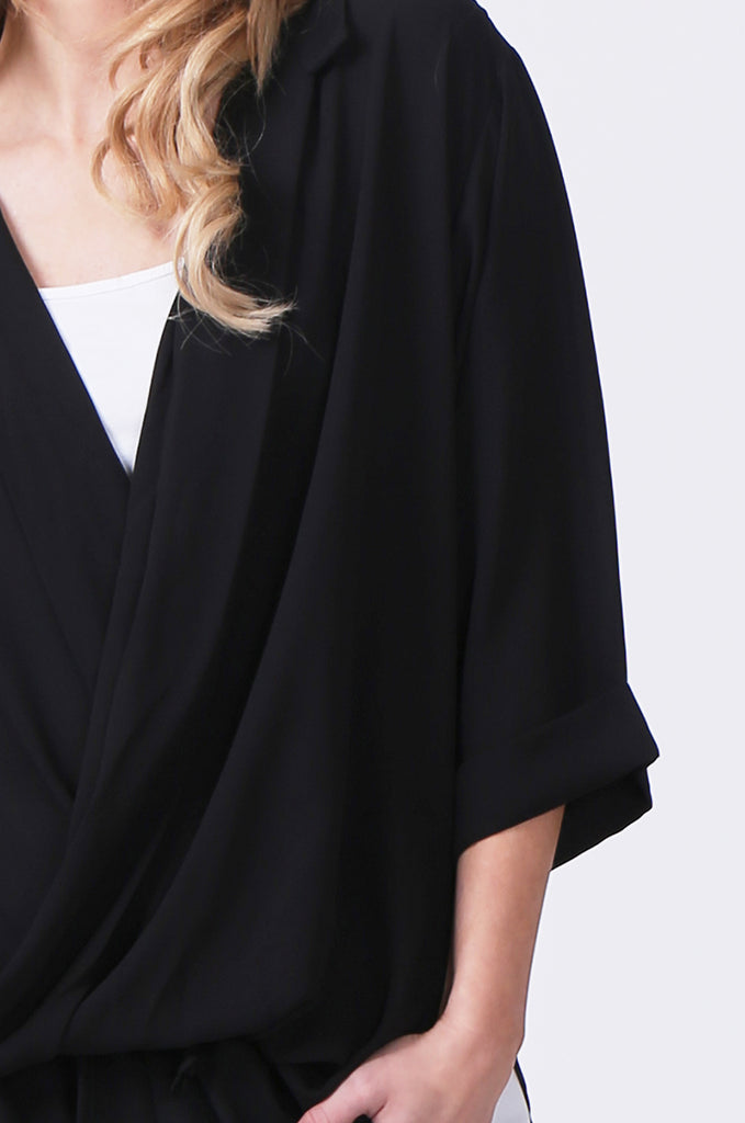 SN0385-BLACK WRAP FRONT SHIRT view 5