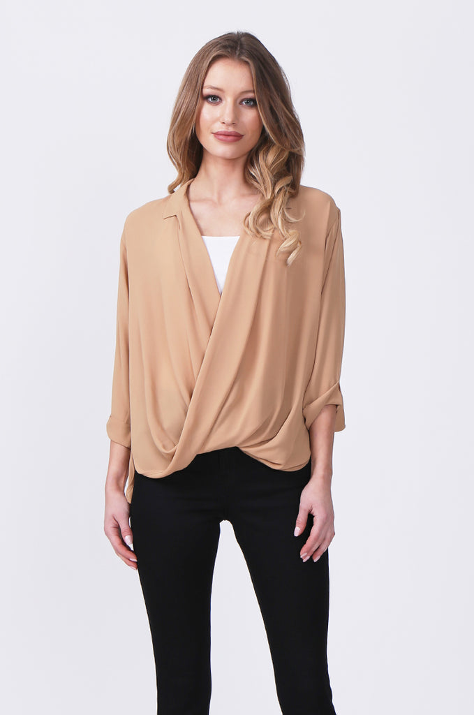 SN0385-CAMEL WRAP FRONT SHIRT view main view