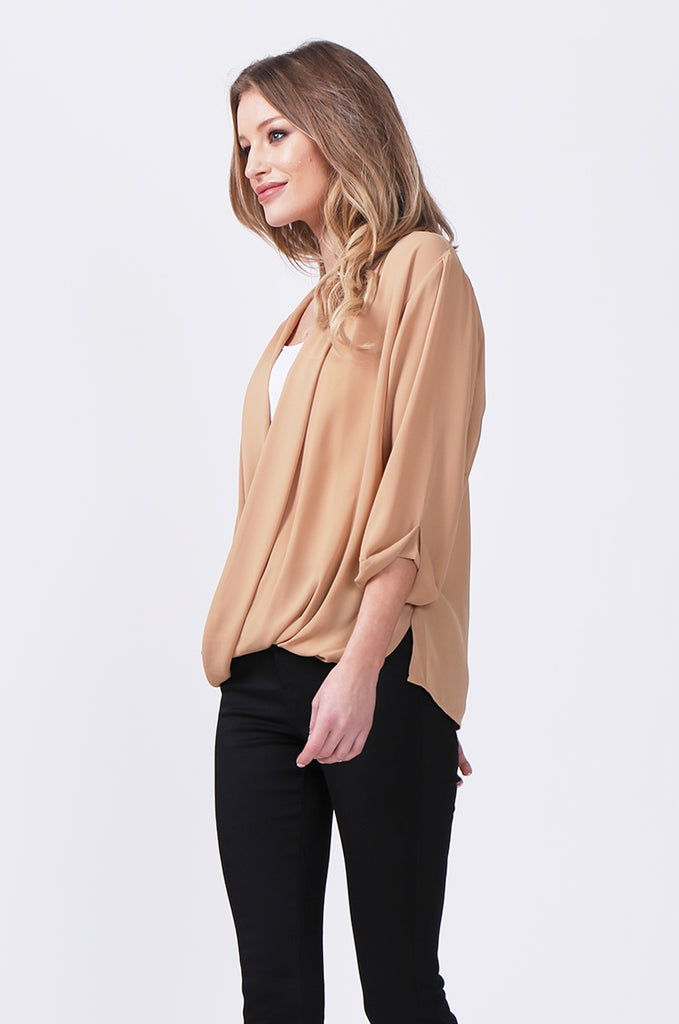 SN0385-CAMEL WRAP FRONT SHIRT view 2