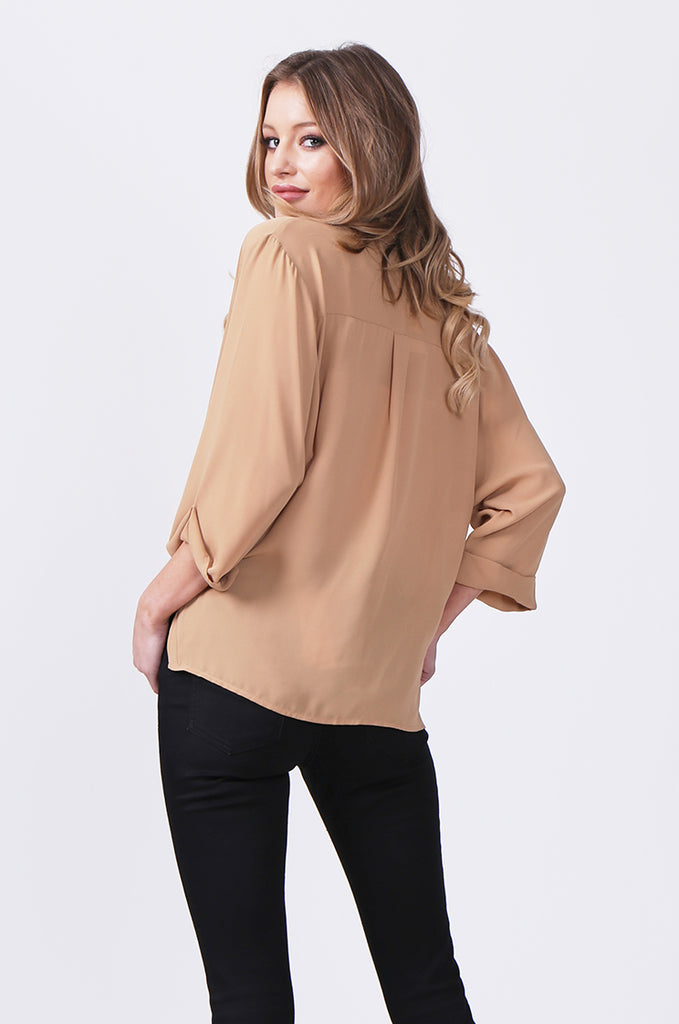 SN0385-CAMEL WRAP FRONT SHIRT view 3