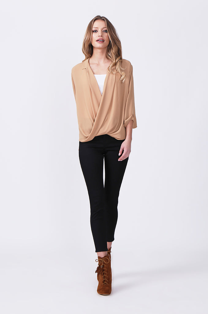 SN0385-CAMEL WRAP FRONT SHIRT view 4