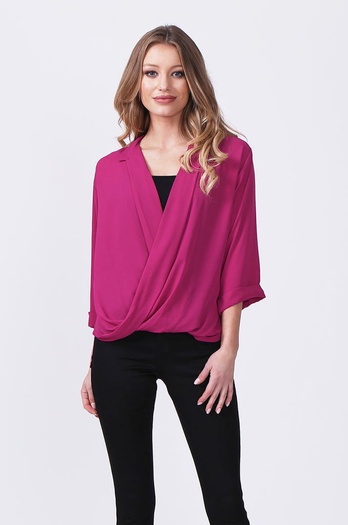 SN0385-PINK WRAP FRONT SHIRT view main view