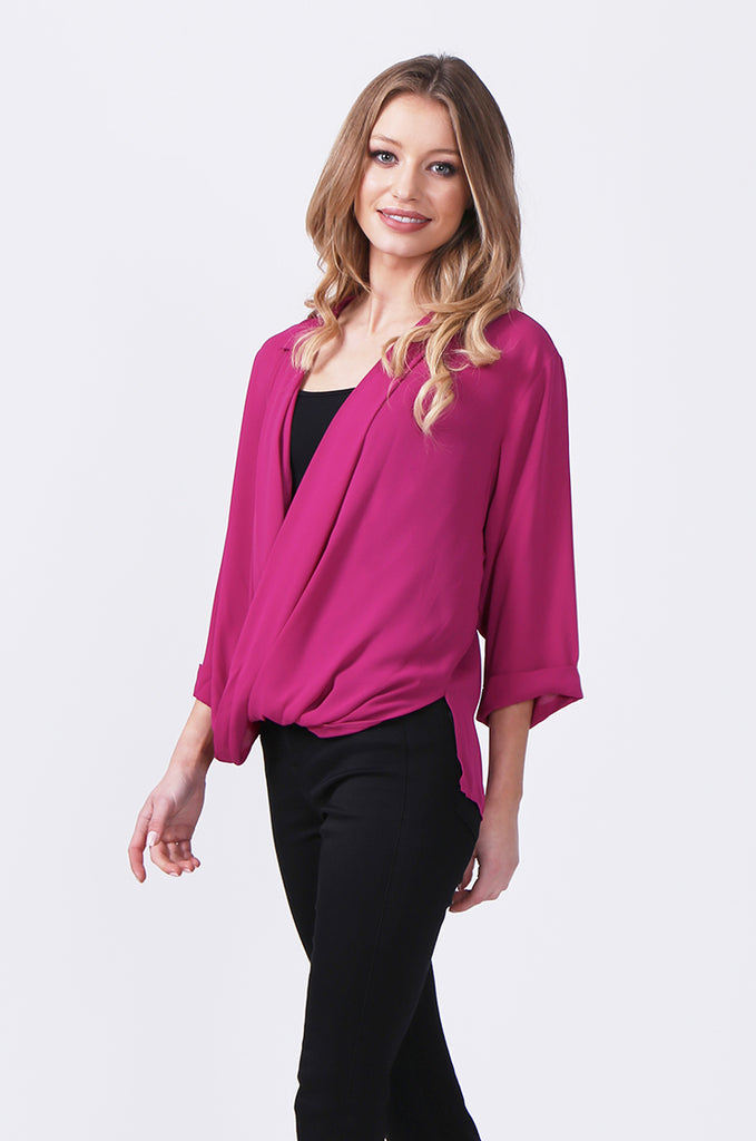 SN0385-PINK WRAP FRONT SHIRT view 2