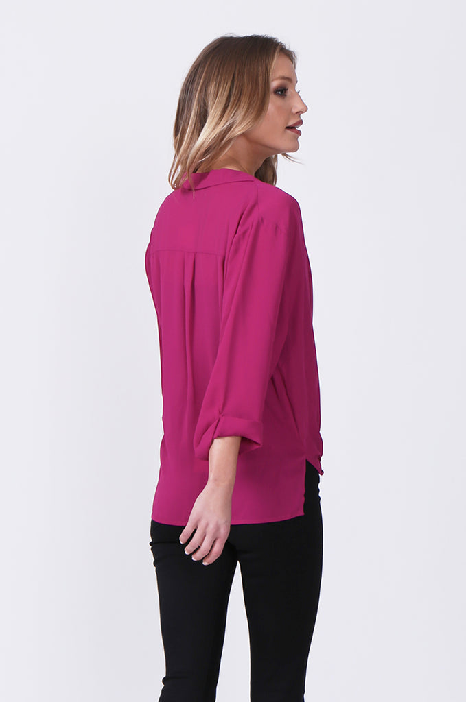 SN0385-PINK WRAP FRONT SHIRT view 3