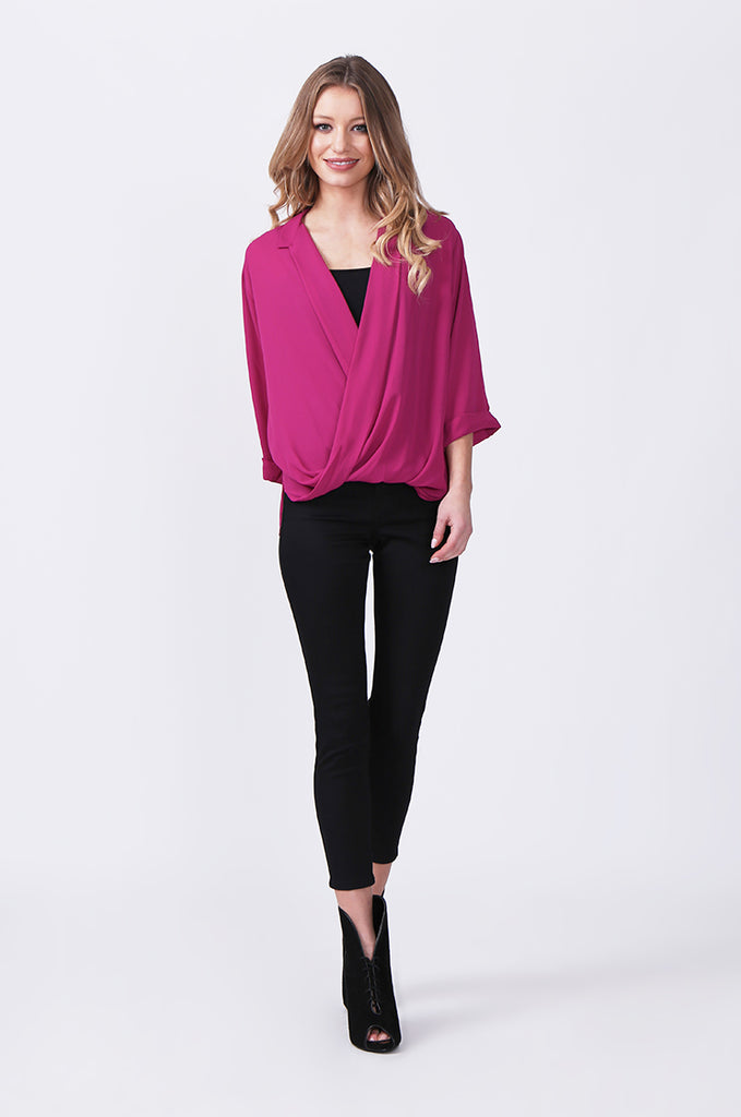 SN0385-PINK WRAP FRONT SHIRT view 4