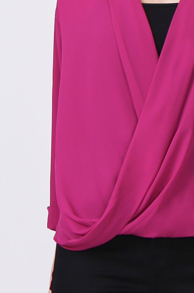 SN0385-PINK WRAP FRONT SHIRT view 5