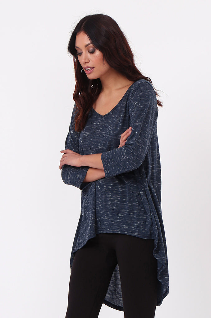 SN0386-NAVY HI-LO TUNIC TOP view 2